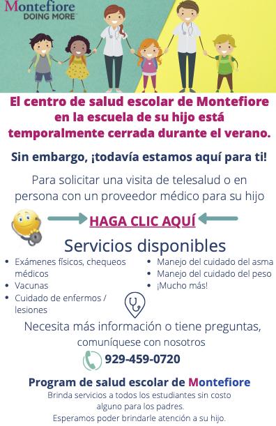 Montefiore Clinic Summer Closure Spanish Flyer