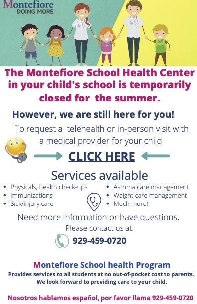 Montefiore Clinic Summer Closure English Flyer