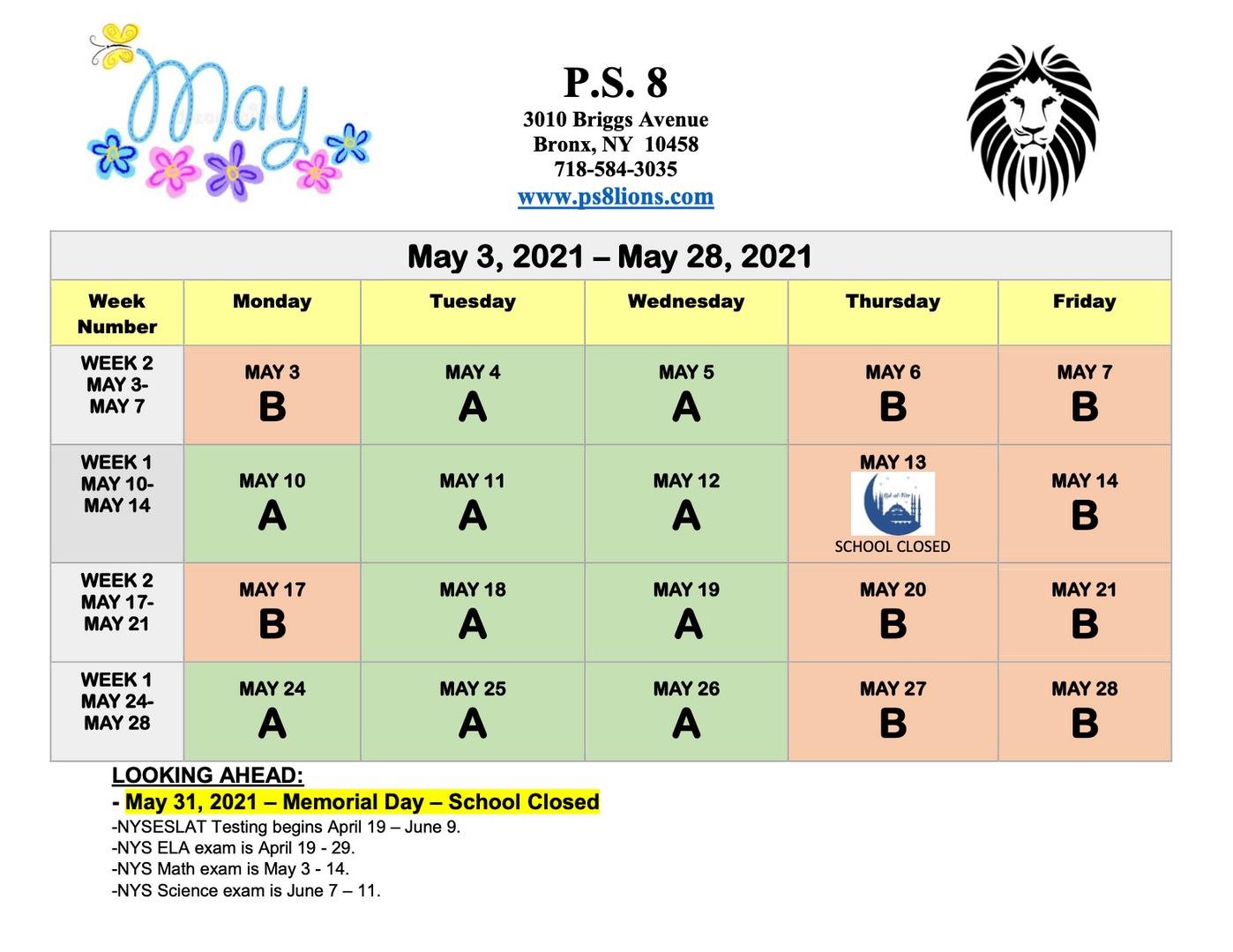 May 2021 School Calendar