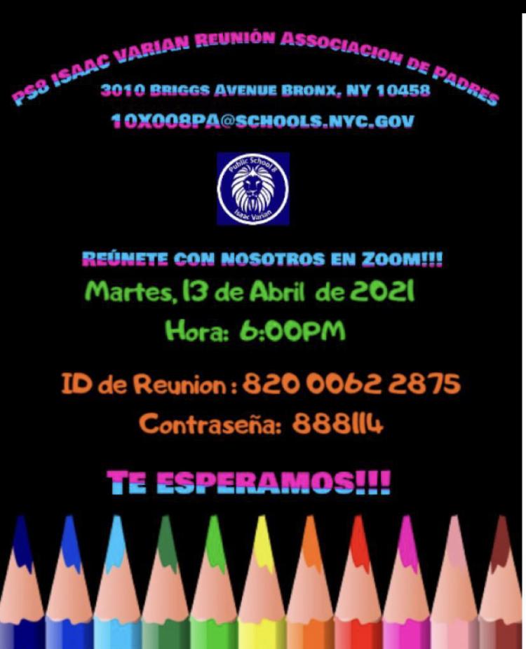 PS8 Parent Association schedule meeting April 13th flyer spanish
