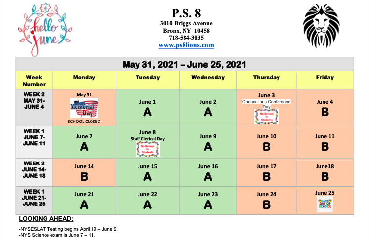 June  2021 School Calendar