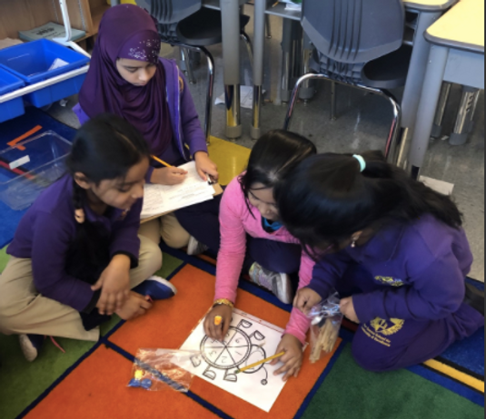Group of students solve math problems together