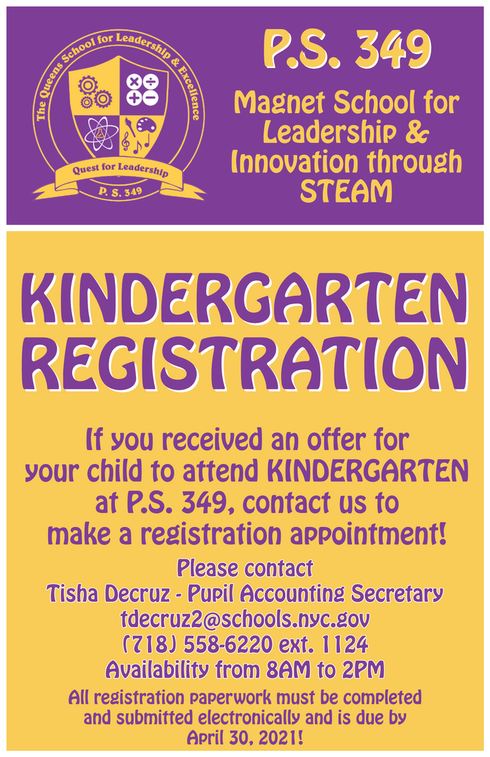 Flyer for kindergarten registration