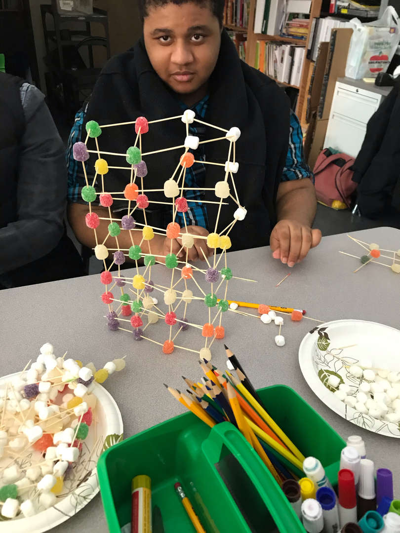 Students builds a tower using candy and toothpicks