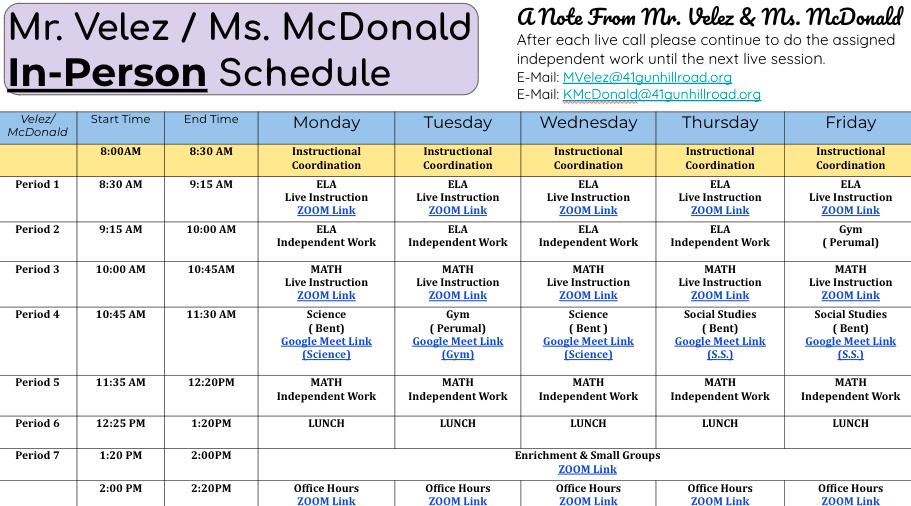 Mr. Velez/Ms. McDonald In-Person Schedule