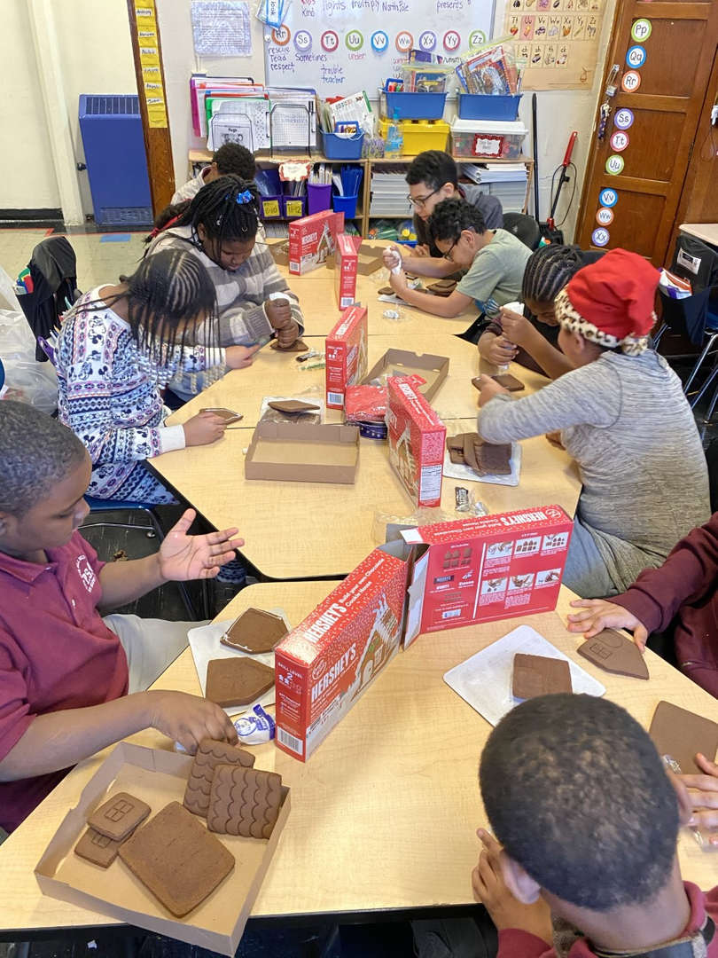 Students build gingerbread homes