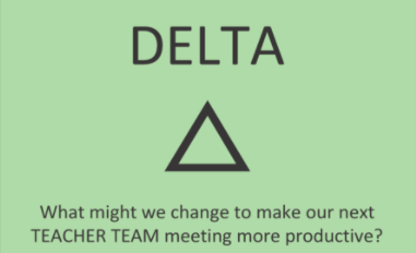 Delta: What might we change to make our next TEACHER TEAM meeting more productive?