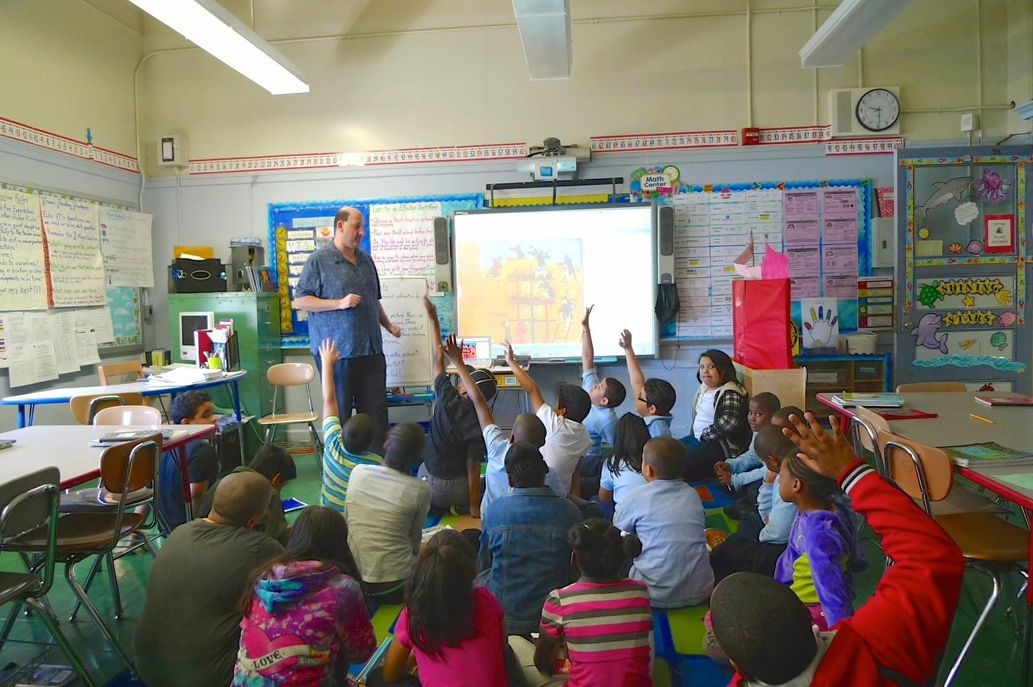 Teacher keeps students engaged during class.