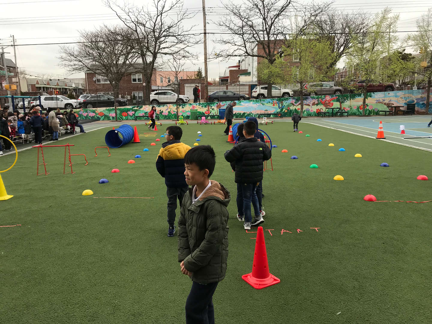 Student obstacle course outdoor set up.