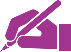 Pen in hand icon.