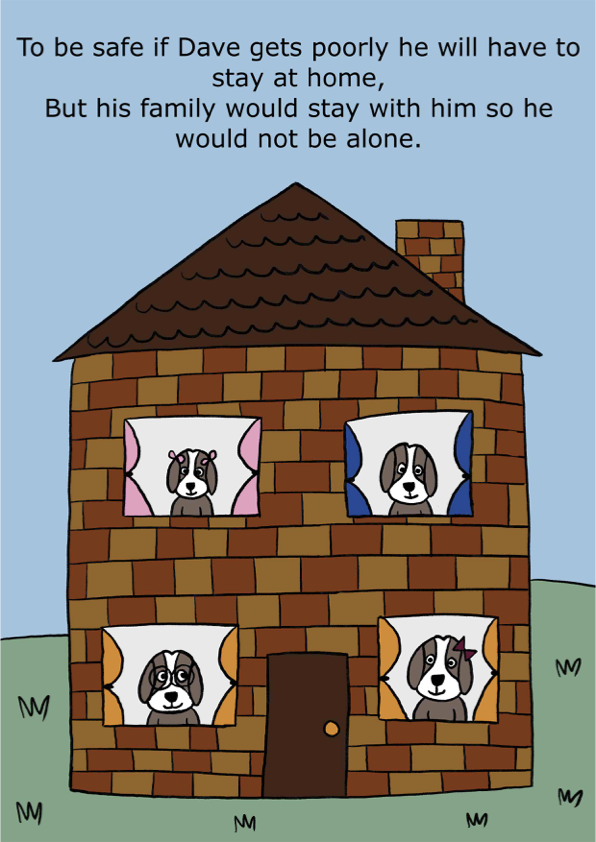 To be safe if Dave gets poorly he will have to stay home, But his family would stay with him so he would not be alone.