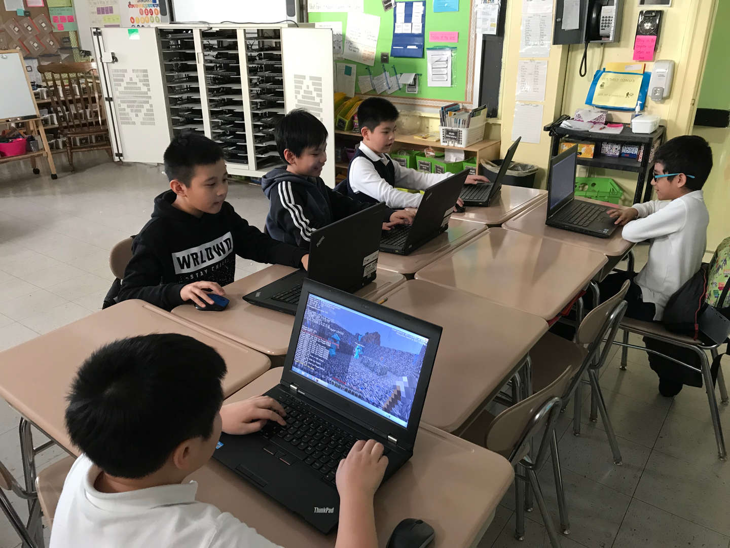 Students learn to code.