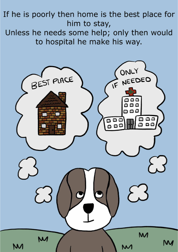 If he is poorly then home is the best place for him to stay, Unless he needs some help; only then would to hospital he make his way.