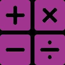 Addition, Subtraction, Multiplication, Division Symbols.