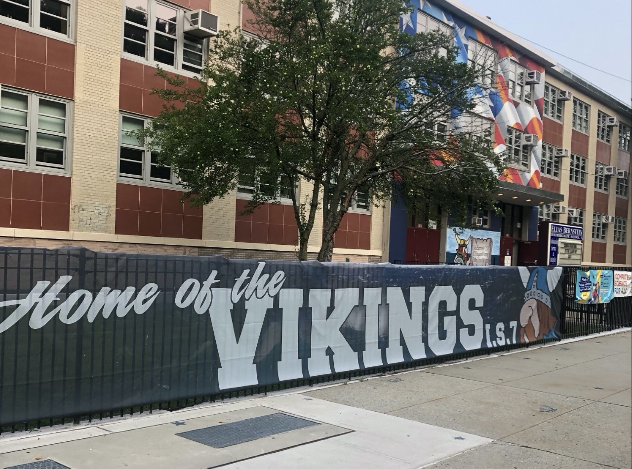 Home of the Vikings Banner at the School Entrance