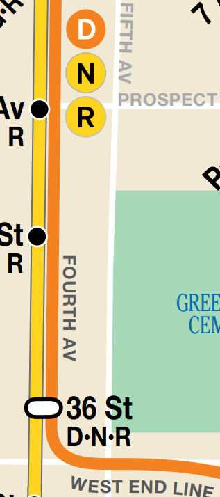 Map of the D, N, R Train at 36 street