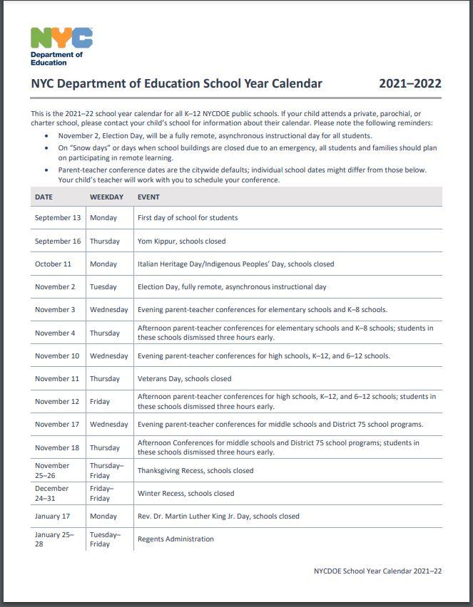 2021-2022 school calendar page 1