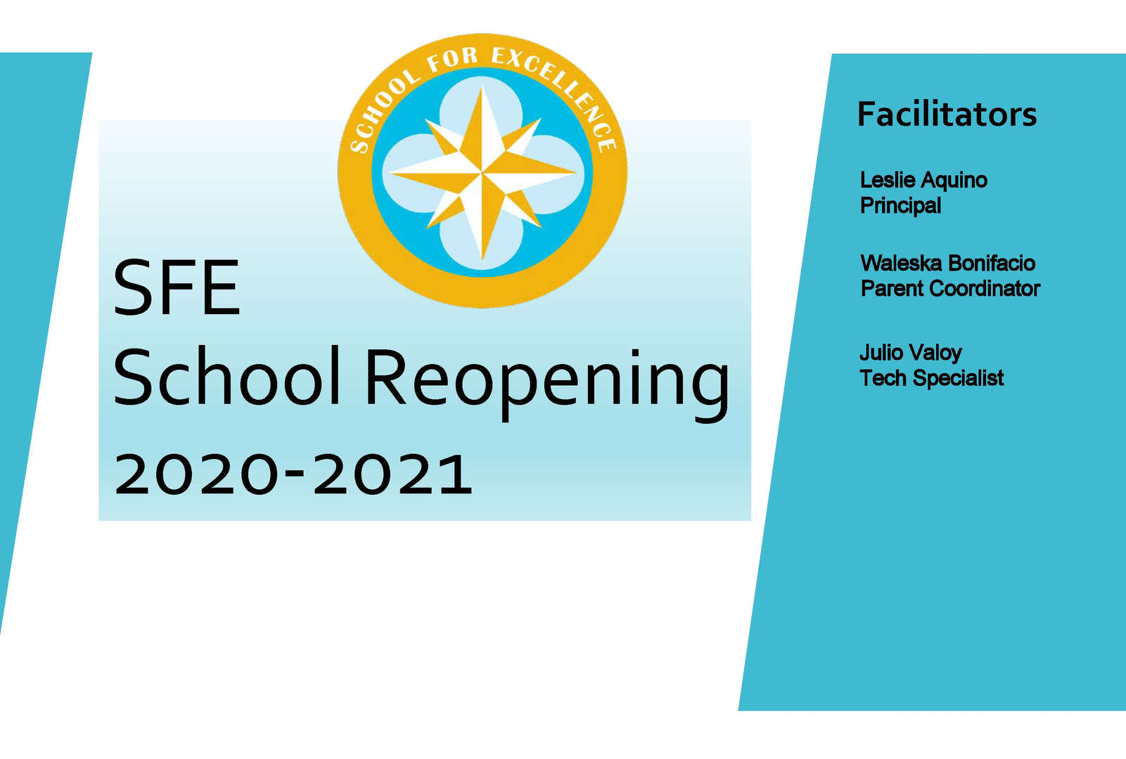 Picture of the title page for the School For Excellence 2020 reopening documentation.