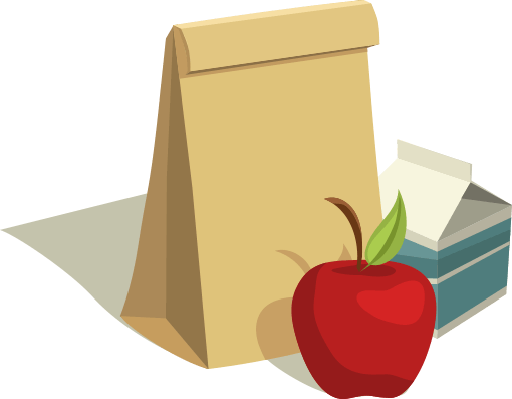 A paper bag lunch with an apple and milk container.