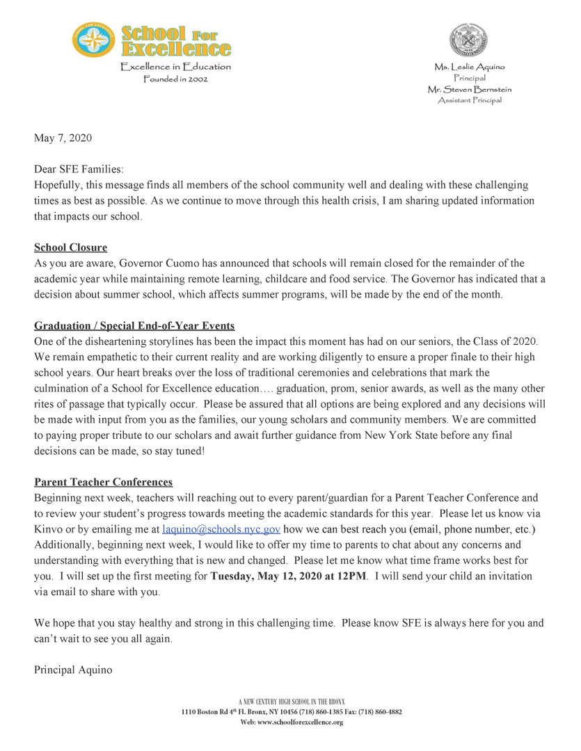 Letter to Parents and Families May 7th 2020