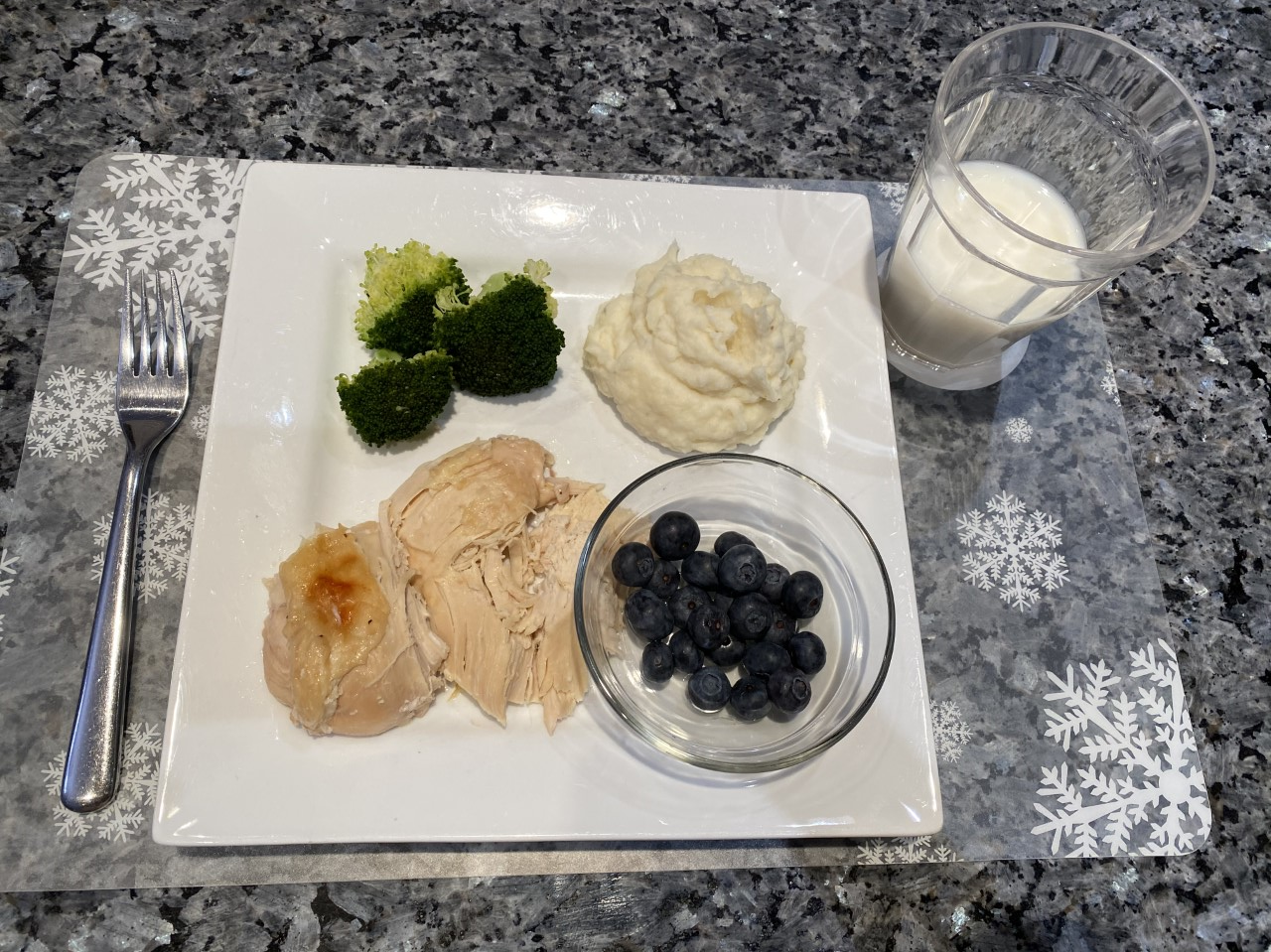 Turkey, broccoli, potatoes, blueberries, milk