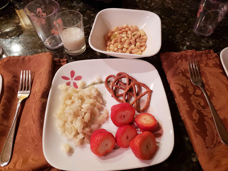 Cauliflower, strawberries, bean, pasta and milk