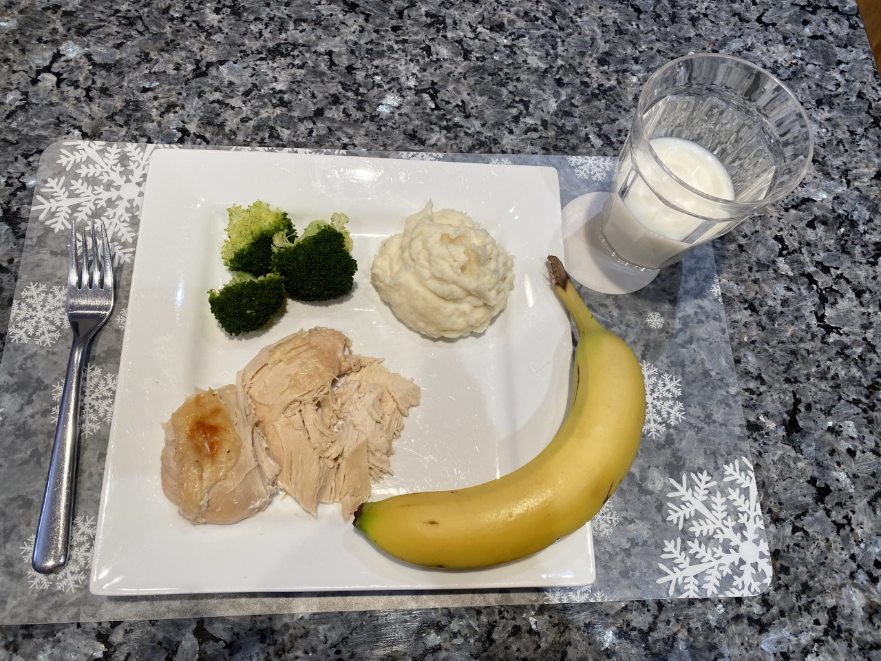 Turkey, broccoli, potatoes, banana