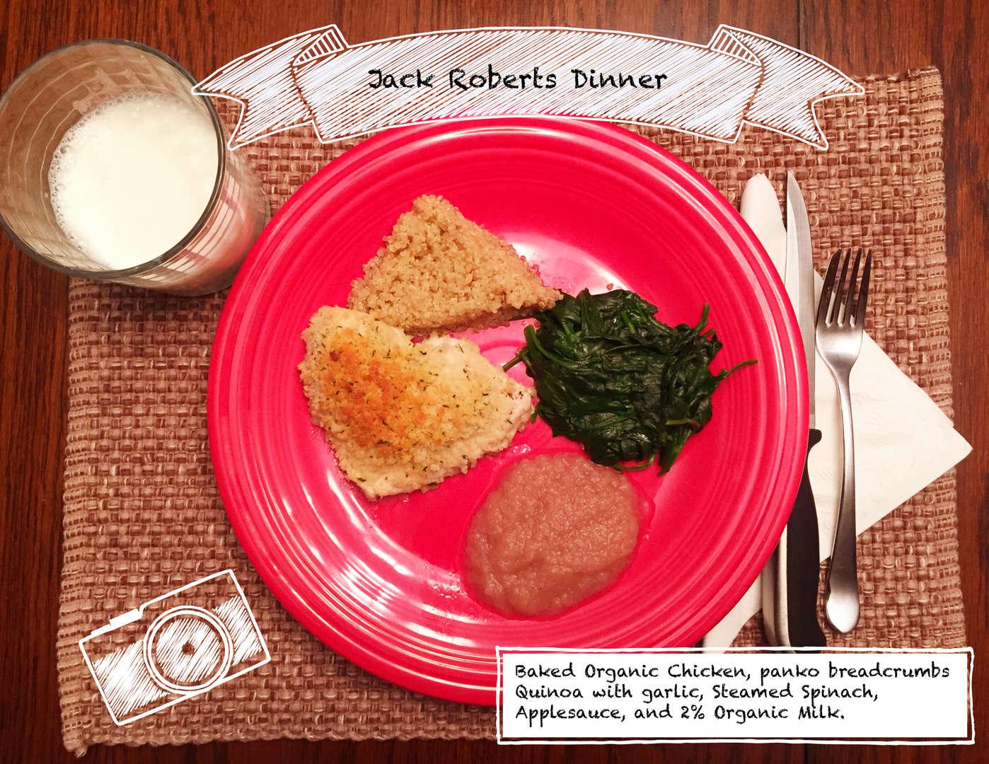 Quinoa, chicken, spinach, applesauce