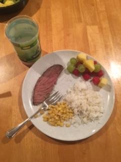 Fruit salad, rice and corn