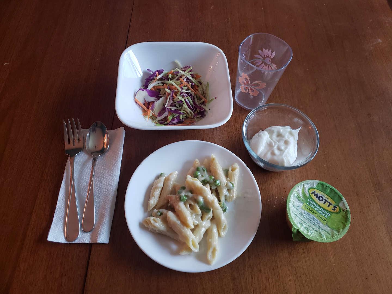 Salad, pasta, yogurt, applesauce