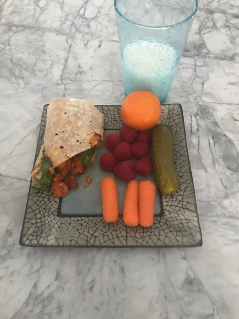 Wrap, carrots, strawberries, oranges, milk and pickles