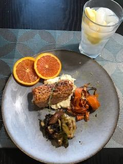 Salmon, sweet potato, brussel sprouts and grapefruit