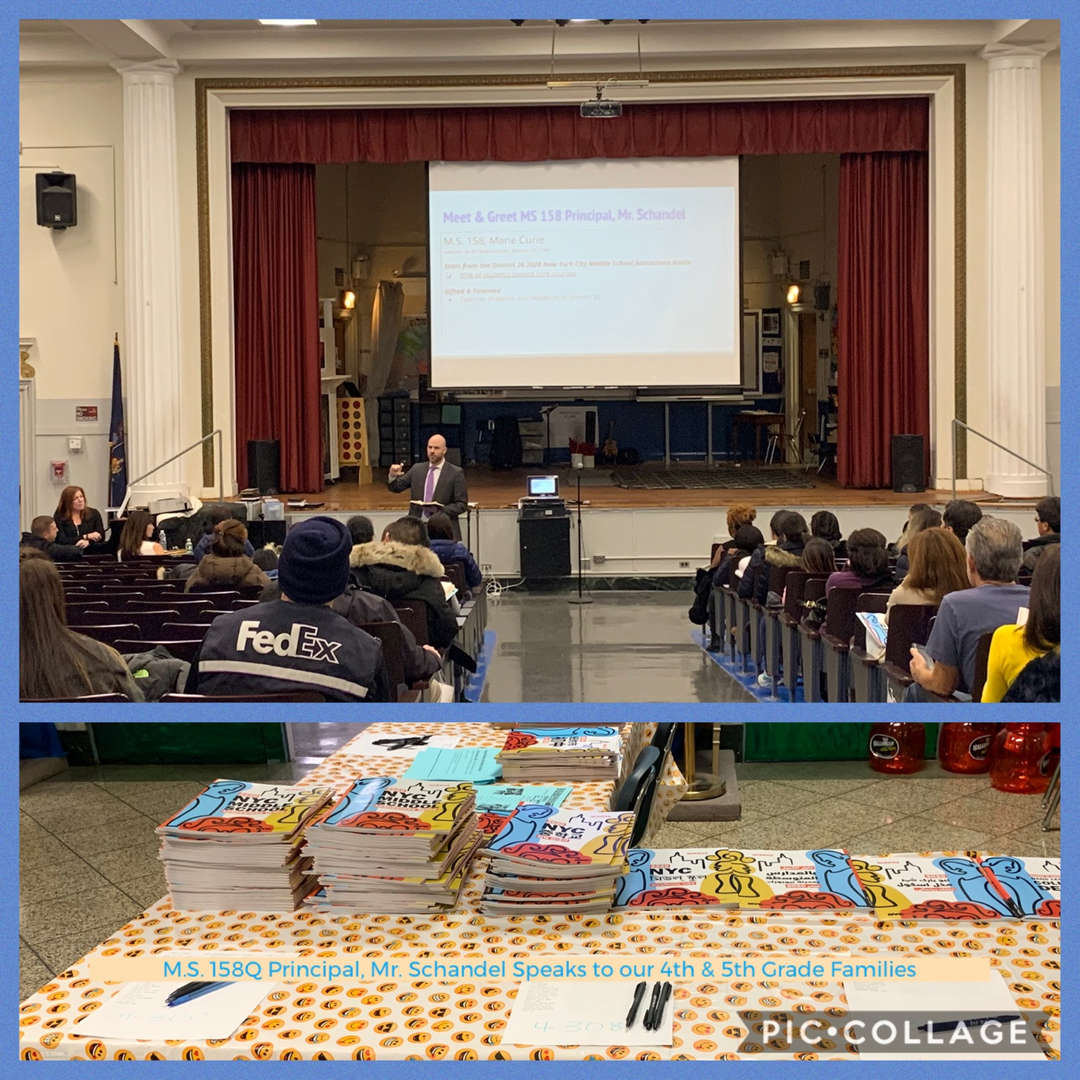 M.S. 158Q Principal Schandel Speaks to Grades 4 & 5