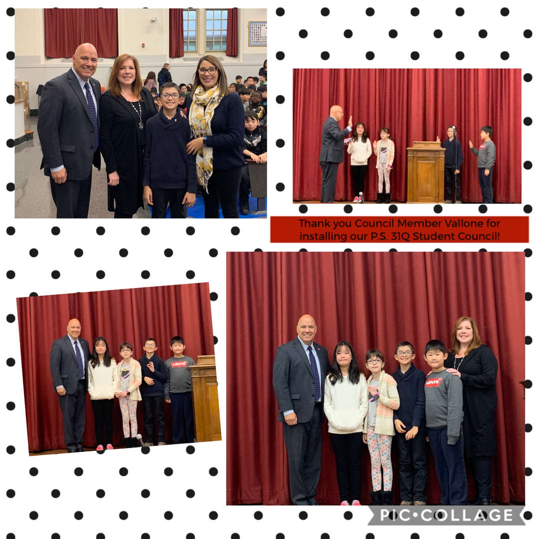 Special Guest, Council Member Vallone, installing P.S. 31Q Student Council