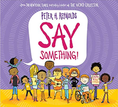 Say Something book cover showing illustrations of diverse characters.
