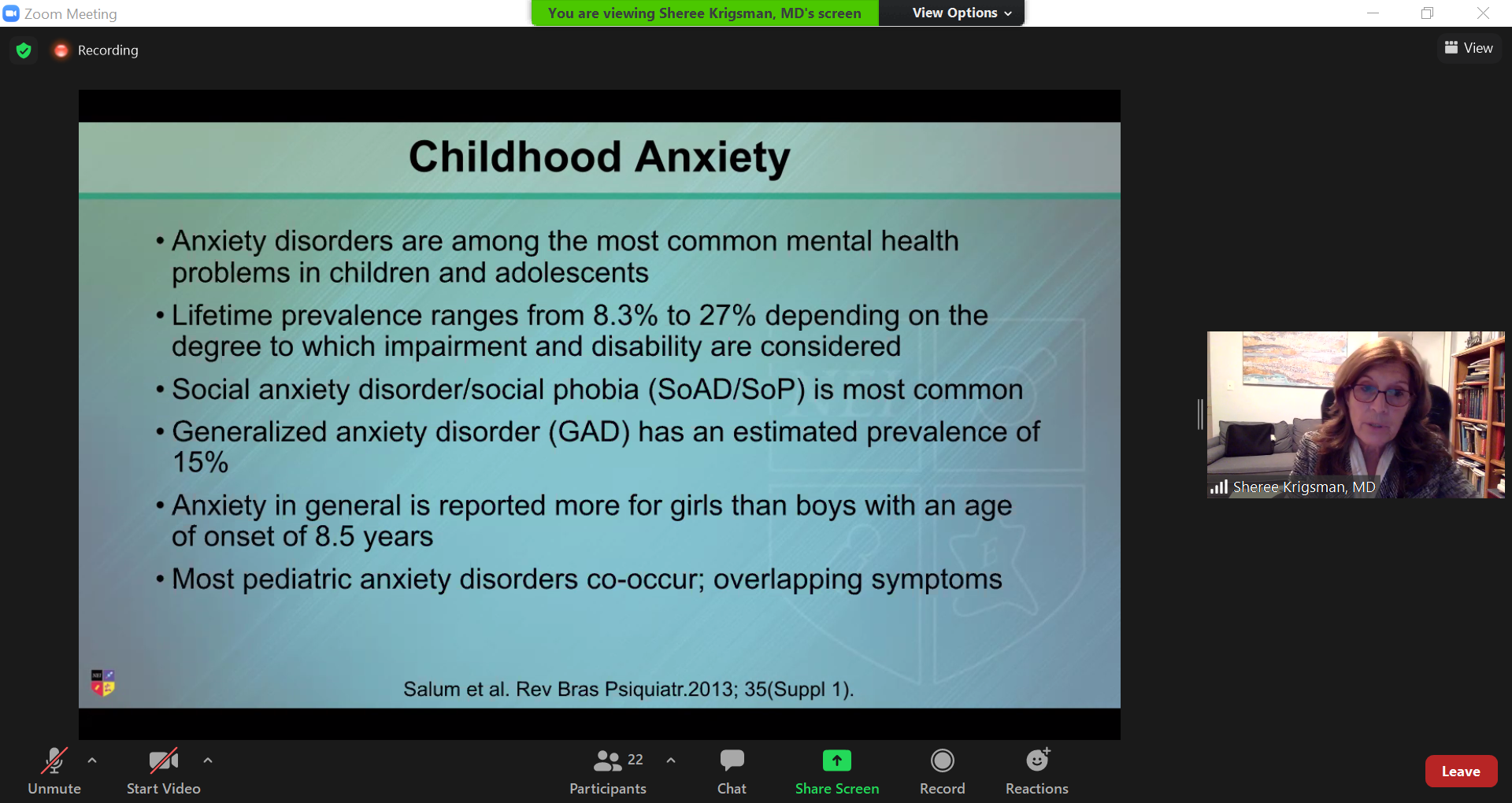 Dr. Sheree Krigsman explains that shows anxiety disorders are common in childhood.