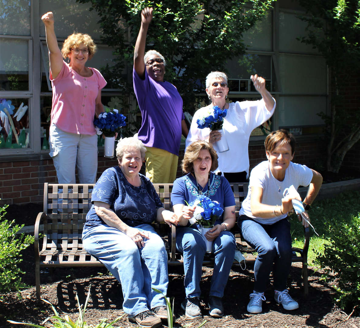 Six of the seven women who retired from Tappan Hill School pose for a photo.