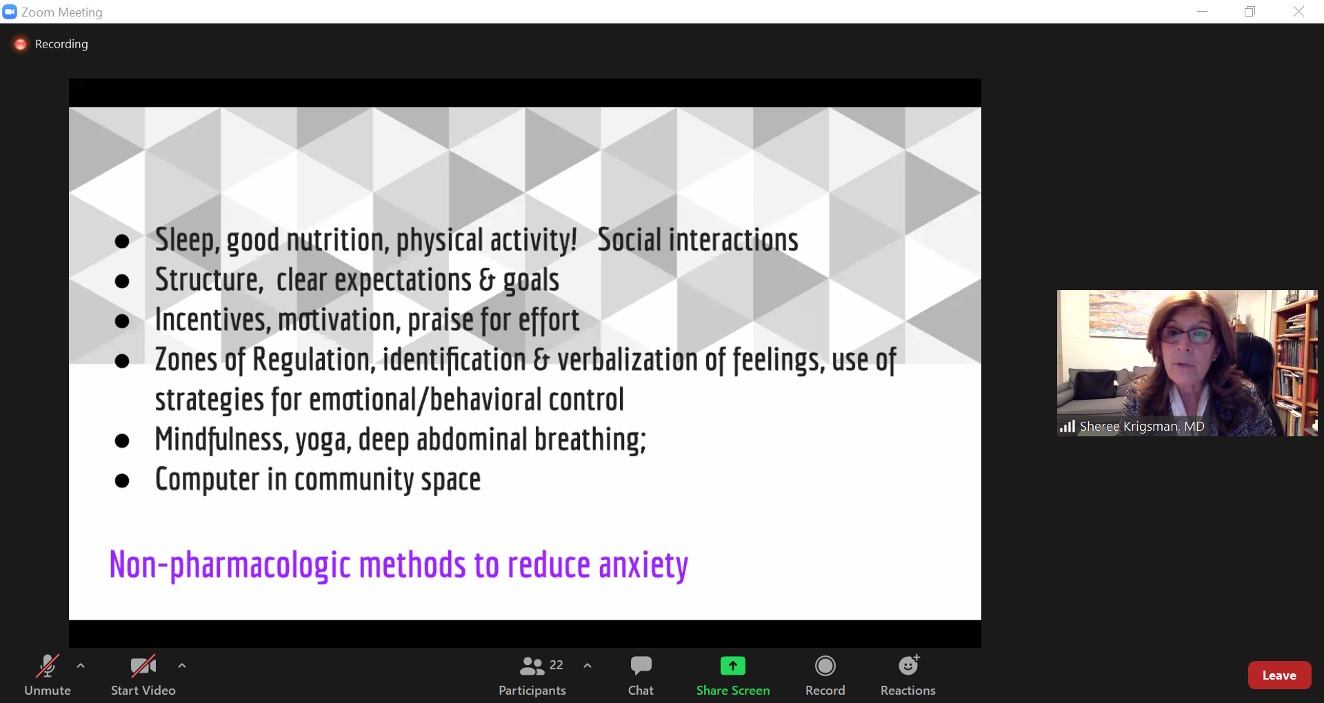Dr. Sheree Krigsman discusses ways to reduce stress and anxiety without medication.