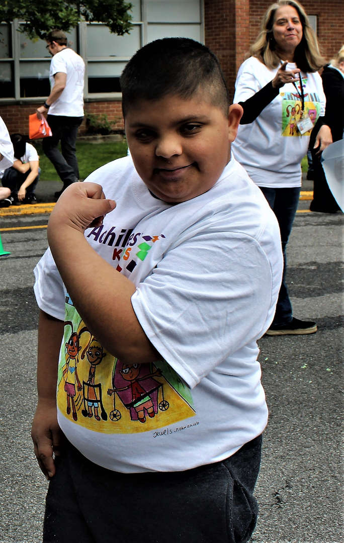 A Tappan Hill student shows off his muscles.