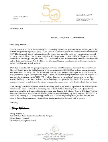 screen grab of Mike Jones commendation letter