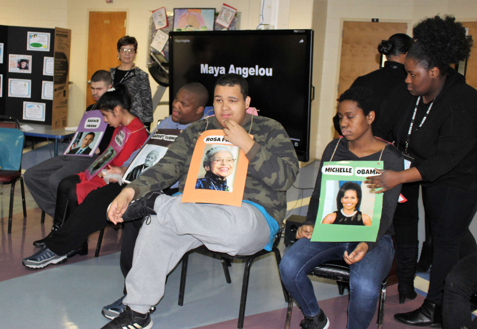 Students took turns talking about a prominent figures in black history.
