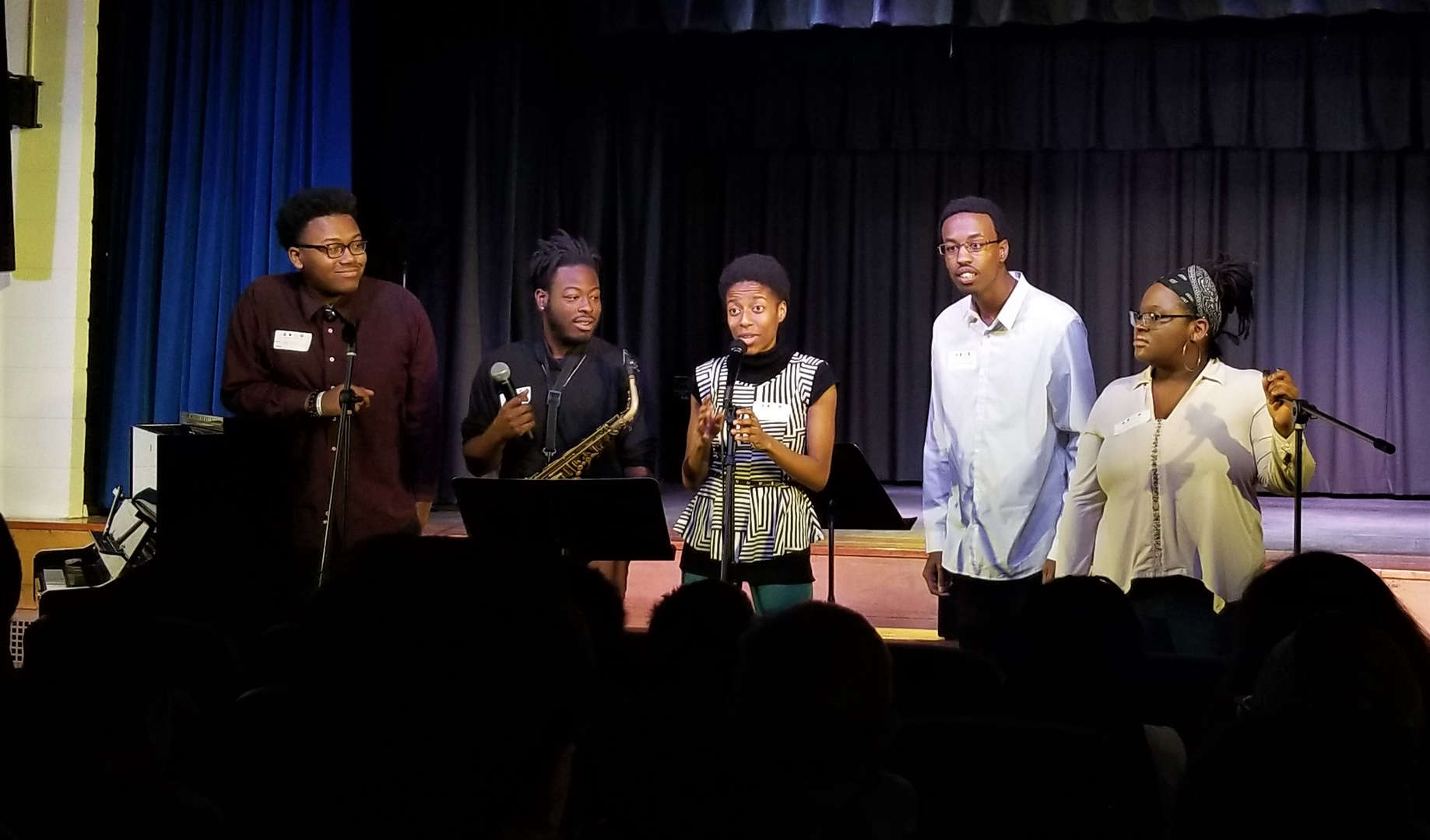 Five musicians answered students' questions after performing.
