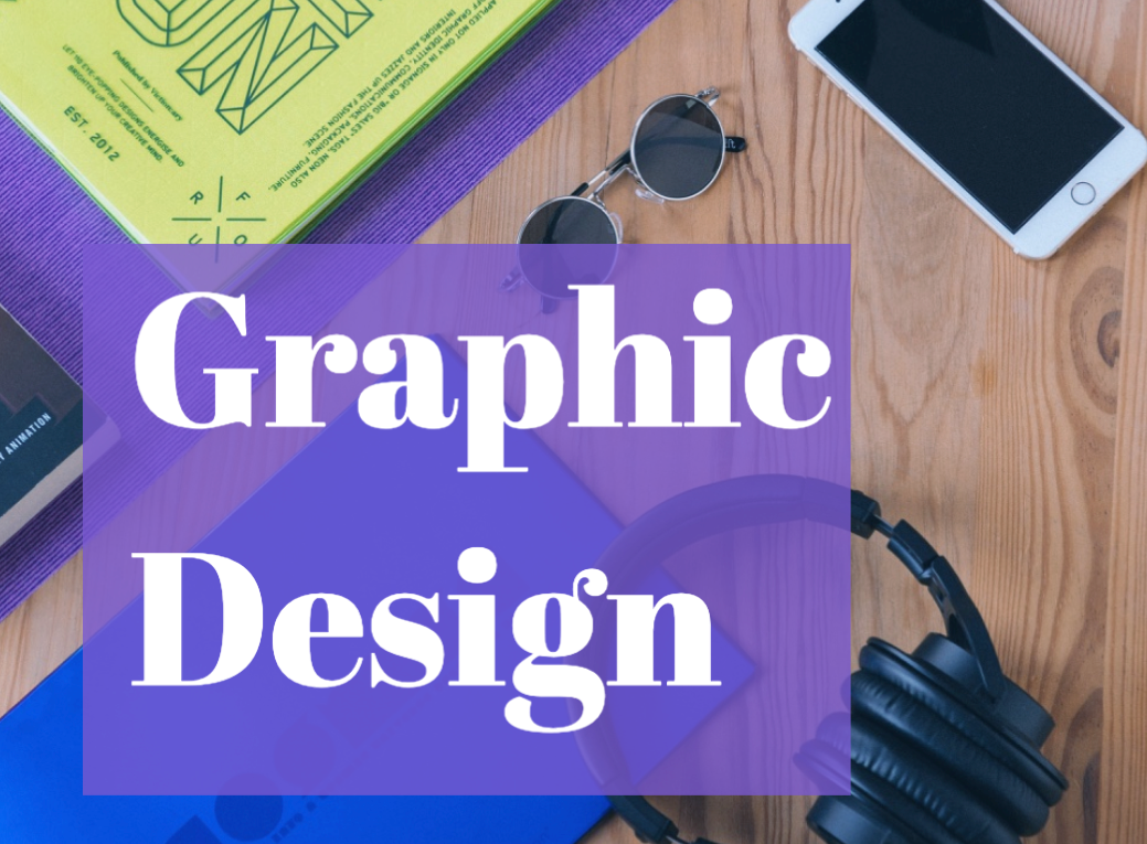 phone, glasses, books and the words graphic design