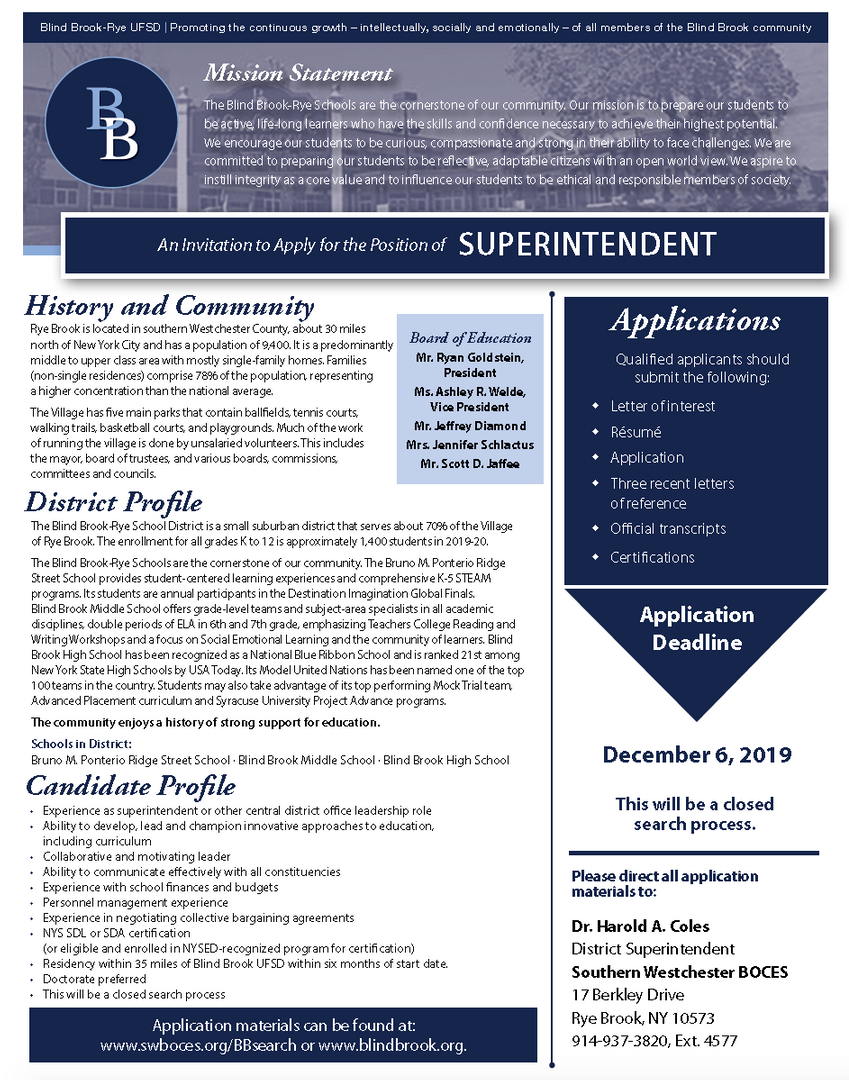 Thumbnail image of Blind Brook superintendent search flyer