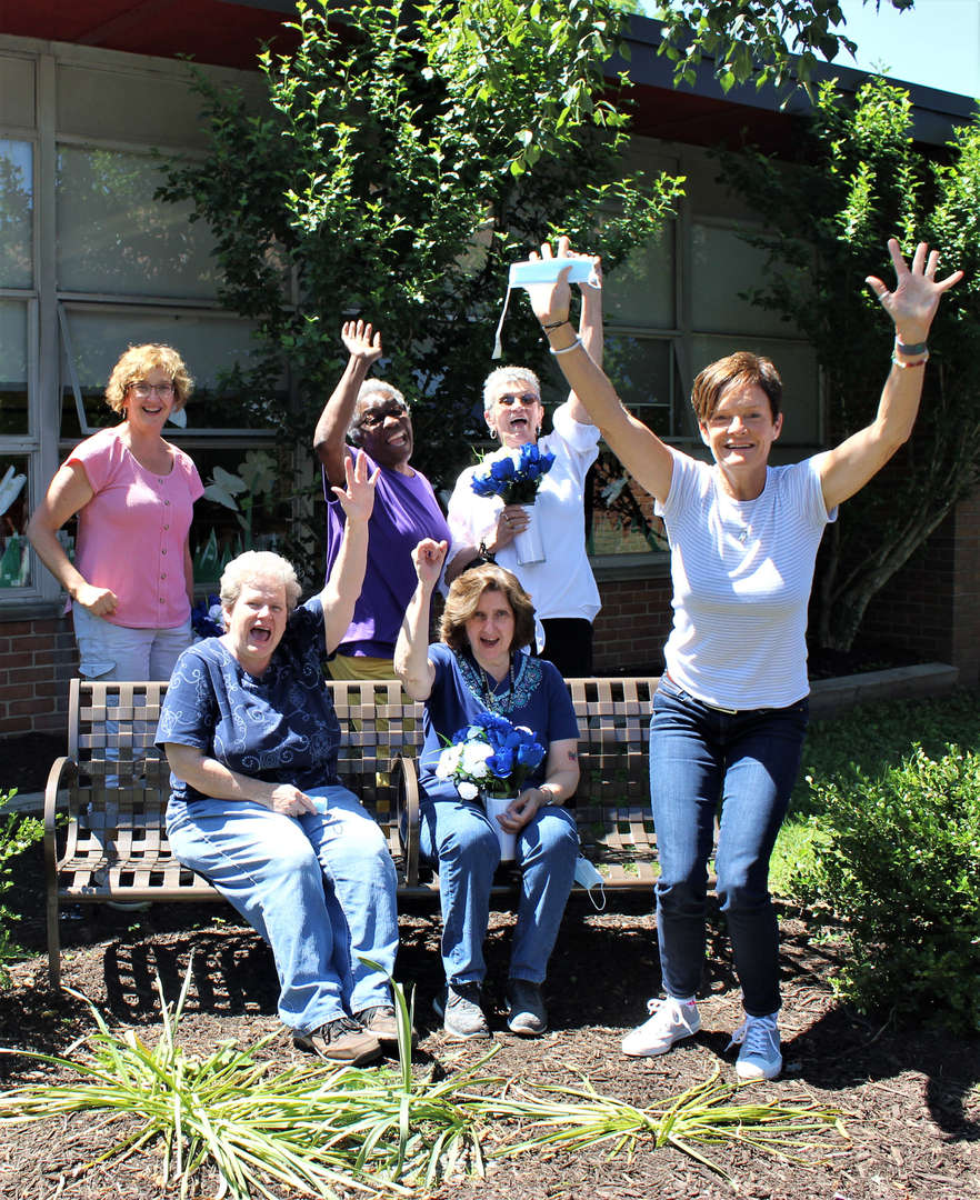 Six of the seven women retiring from Tappan Hill School pose for a photo.
