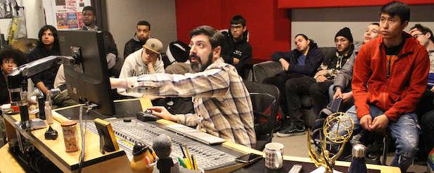 Sound students at studio