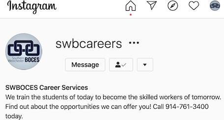 screenshot of SWBOCES CTE Instagram profile
