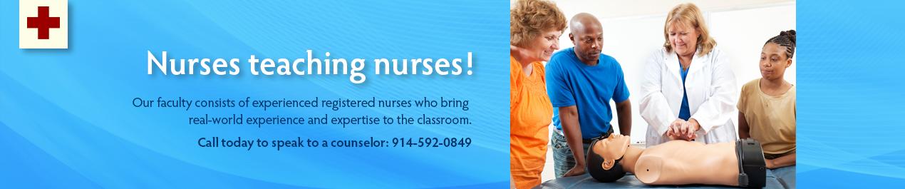 nursing banner graphic with headline nurses teaching nurses