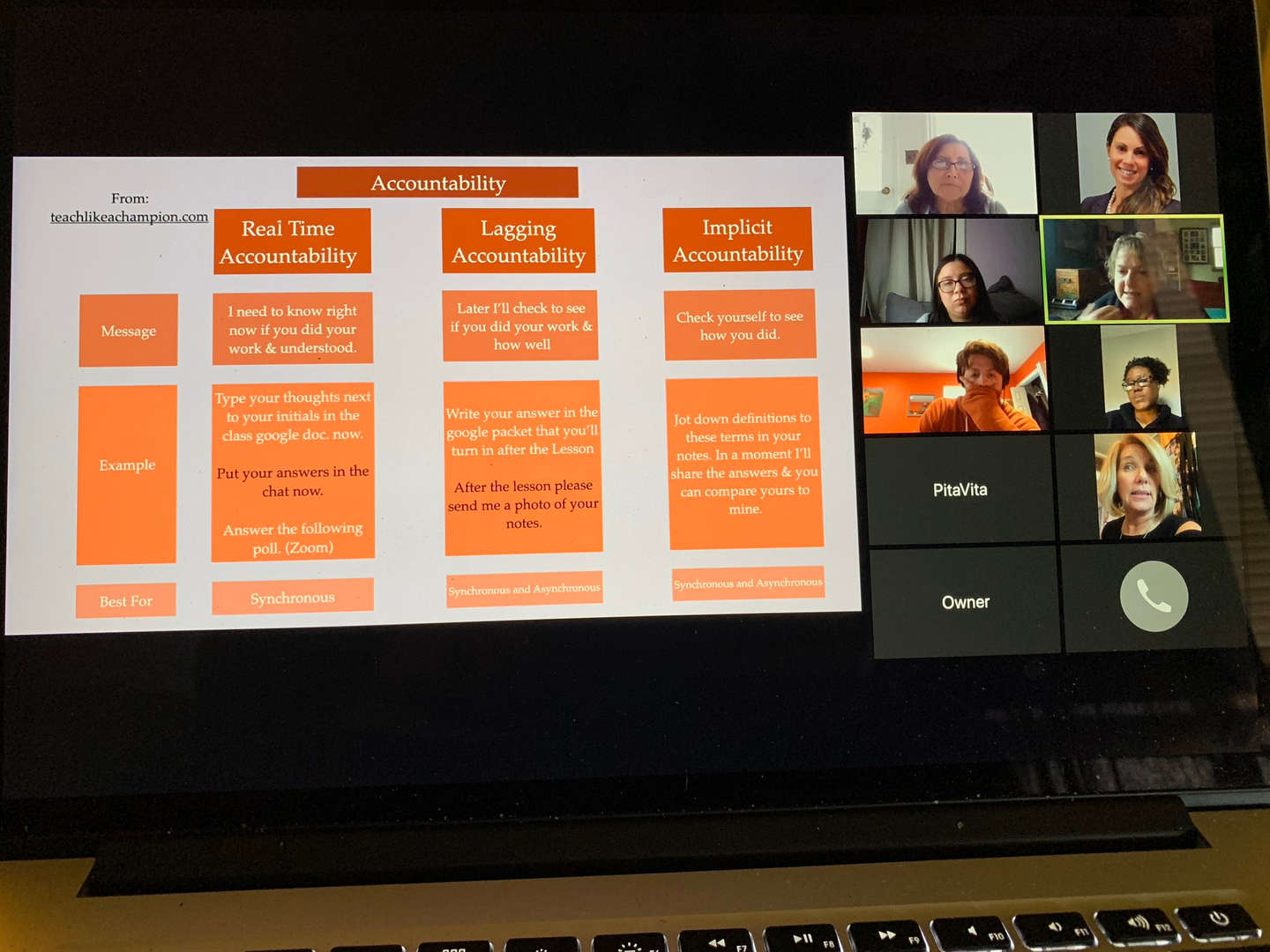 Educators review a presentation while on a Zoom call