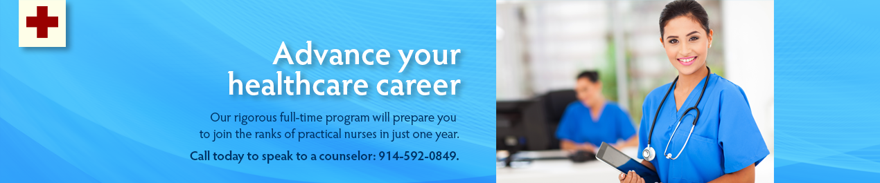 nursing banner graphic with headline advance your healthcare career